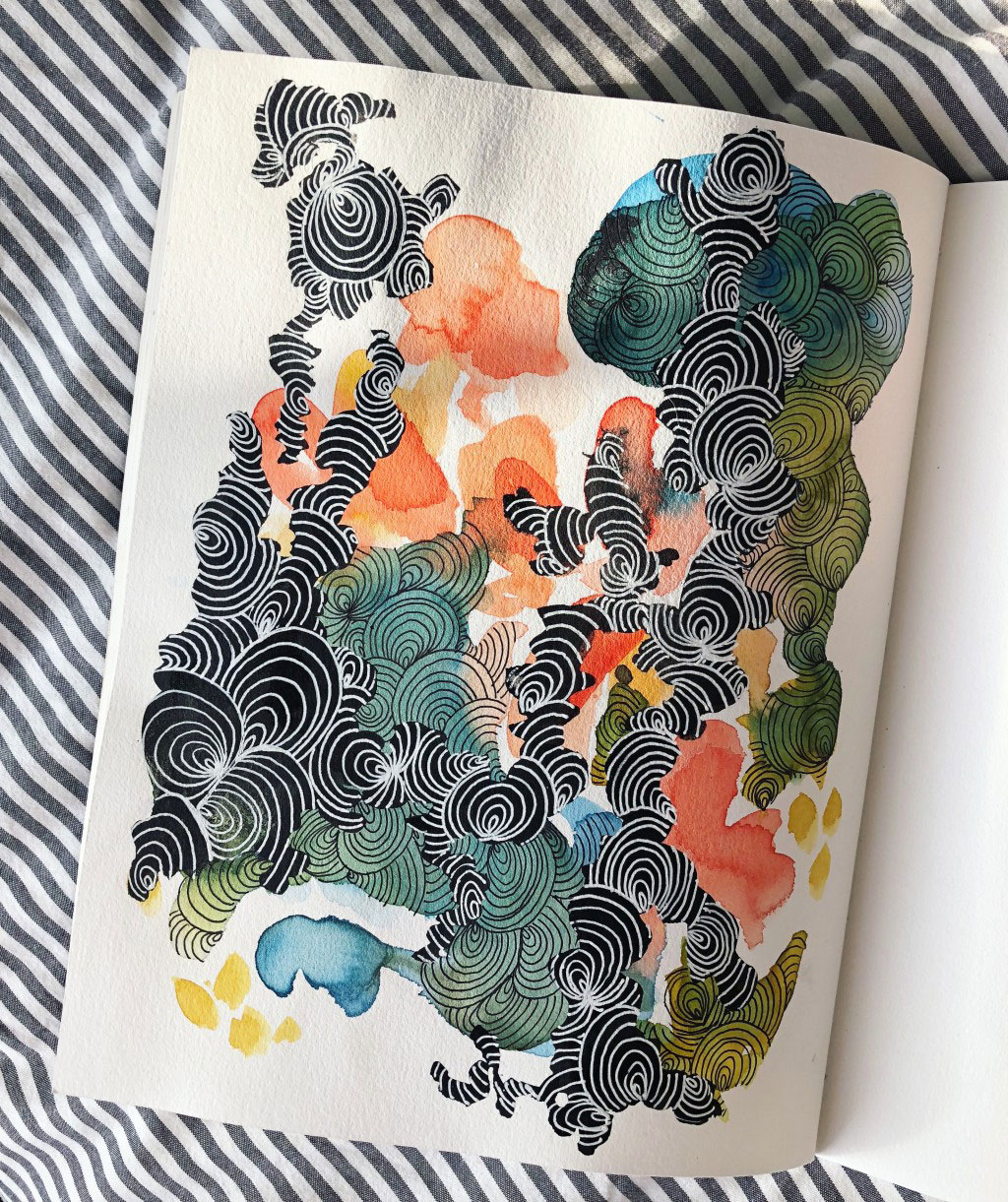 Watercolor painting of different spiraling patterns