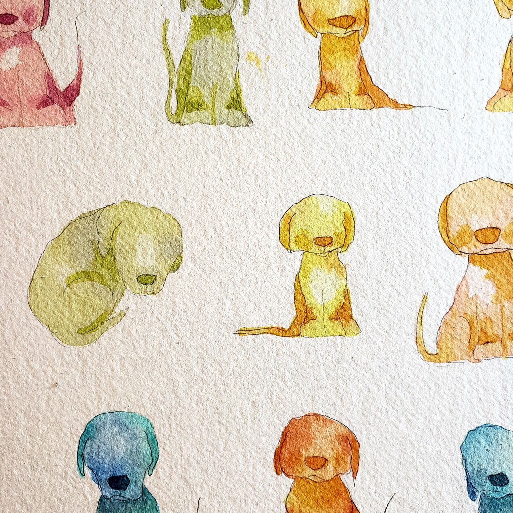 Watercolor painting of dogs in various colors