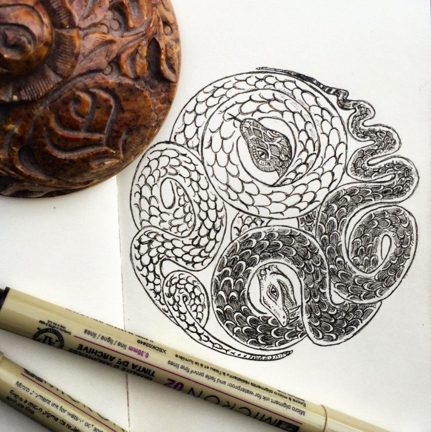 Yin Yang Drawing with Snakes