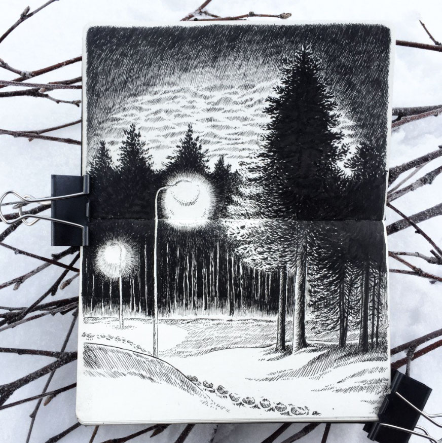 Drawing of nighttime