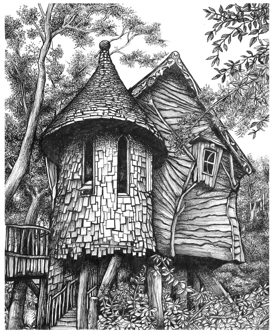 Black and White drawing of a house