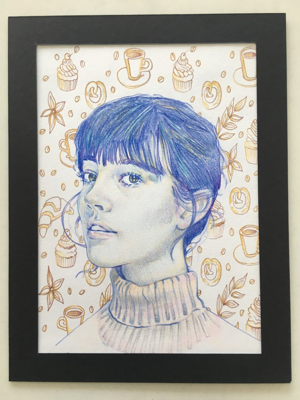 Drawing of a girl with blue hair