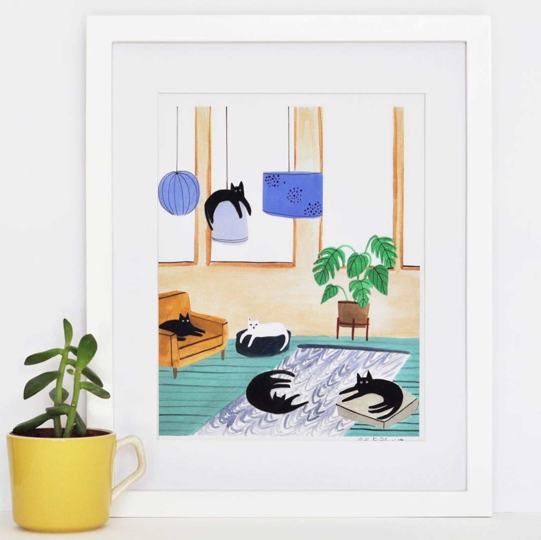 Illustration of an interior of a house with cats everywhere