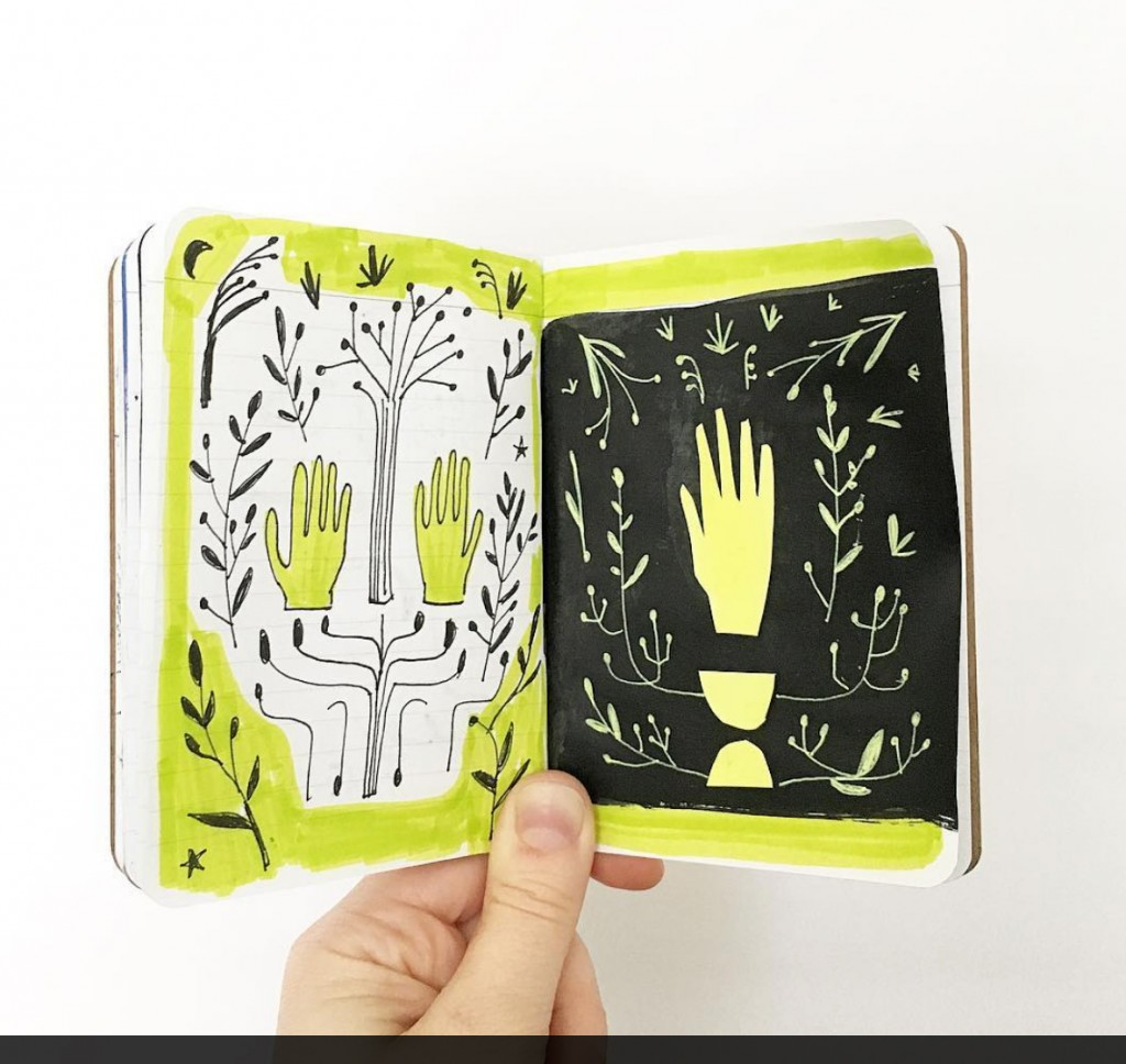 Cute illustrations in a sketchbook
