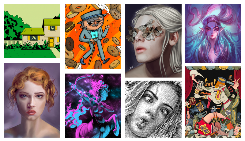Collage of top digital art uploads of 2020