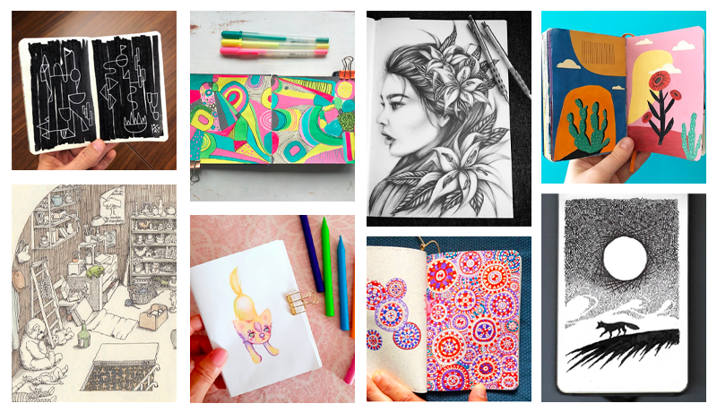 Collage of the top sketchbook pages this year