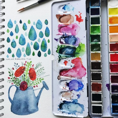 Watering Can and Raindrops