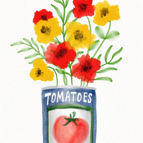 Tomato can bouquet