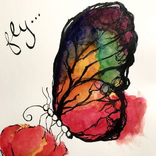 Ink and watercolor butterfly