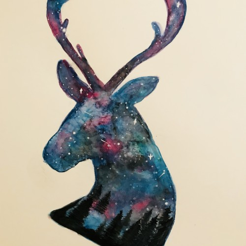 Galaxy Stag and forest