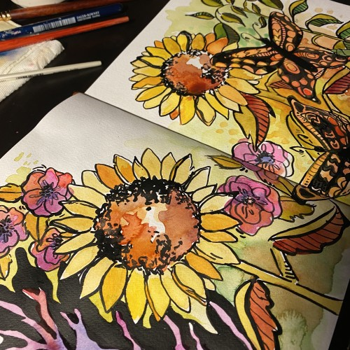 Sunflowers  Watercolor