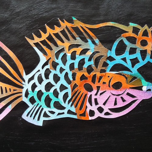 Paper cut-out fish