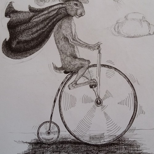 Hare on a Penny Farthing
