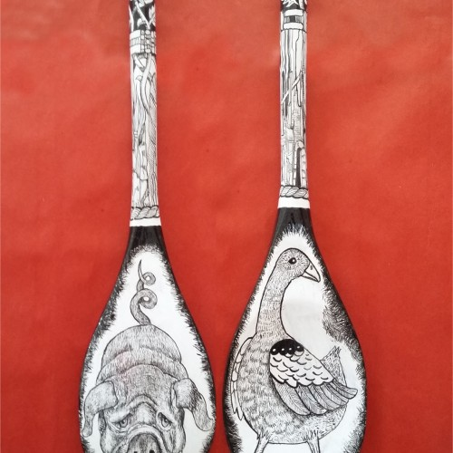 Drawn upon wooden spoon - two sides