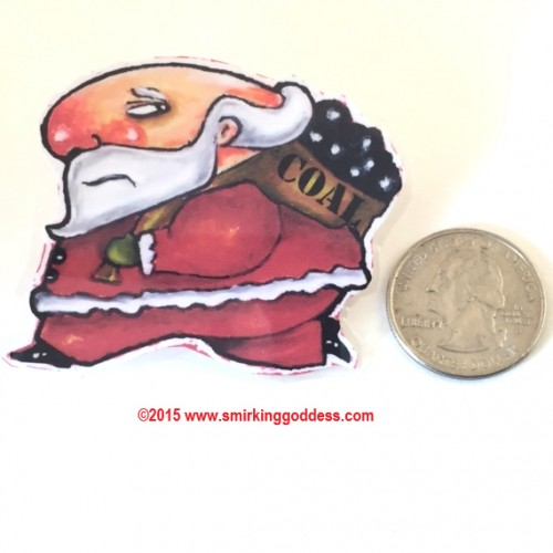 Funny Laminated Santa Pin