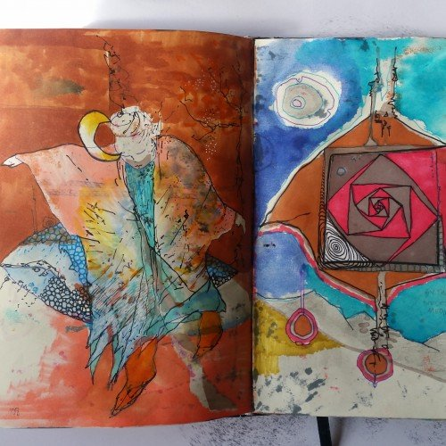 Sketchbook spread - lunar stories
