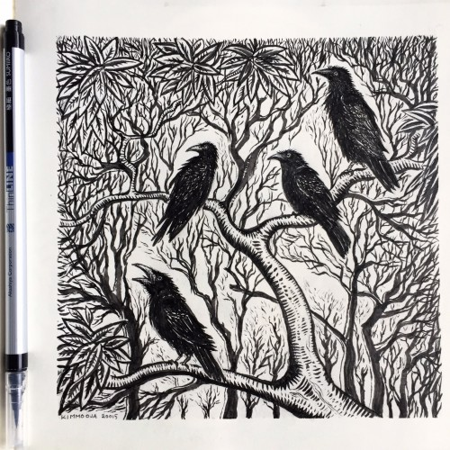 Crows in a bush