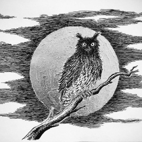 Eagle owl at moon