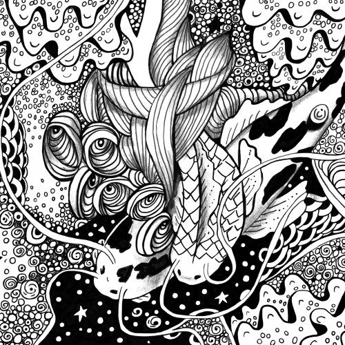 Koi Ponds Ink Drawing