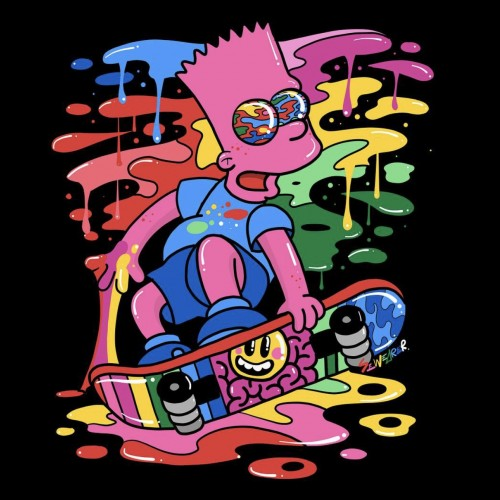 Trippy Bart on his Skateboard A4 print