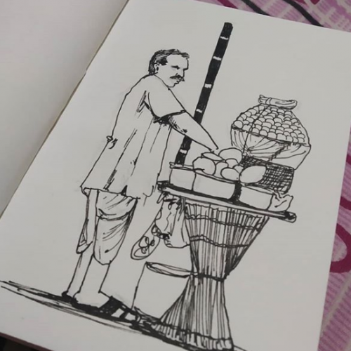 panipuri kumcha ink sketch