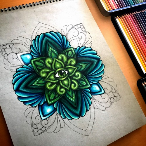 Mandala in green and blue