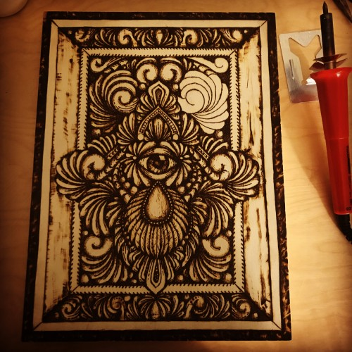 Wood burning Mandala