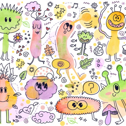 Watercolor Monsters Party