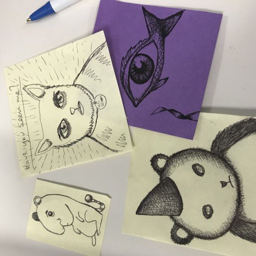 "Post it doodles: ""Have you seen me?"""