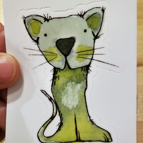 Green Watercolor cat