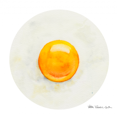 Avo Nice Day - Avocado & Egg Toast - Watercolor Illustration