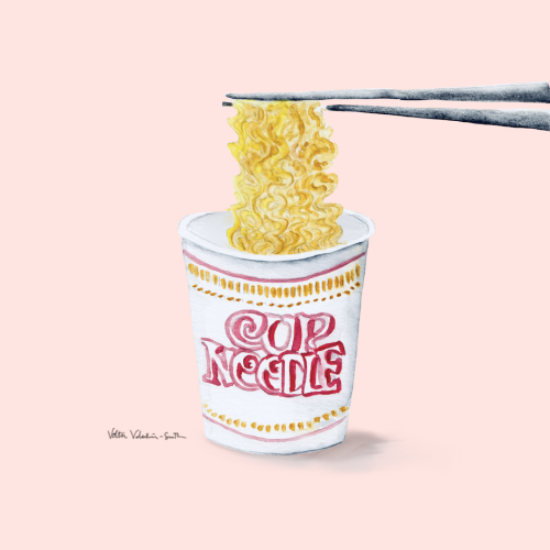 Send Noods - Watercolor Illustration of Cup Noodle