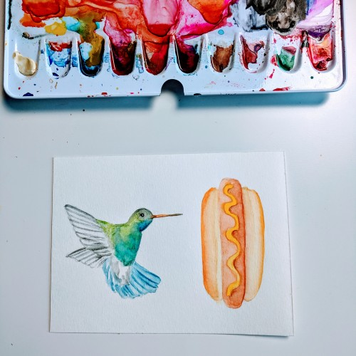 Hummingbird and a Hot Dog - Watercolor Bird Illustration
