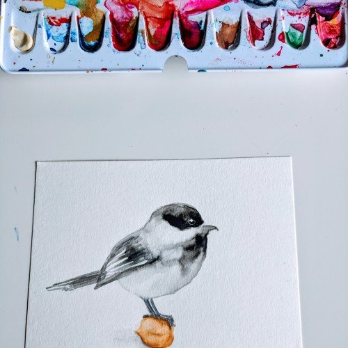 Chickadee on a Chickpea - Watercolor Bird illustration