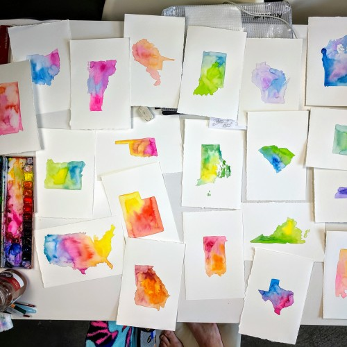 Watercolor States of America