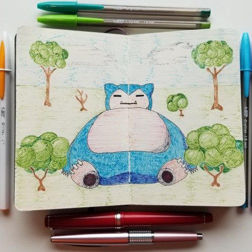 Snorlax in BIC pens