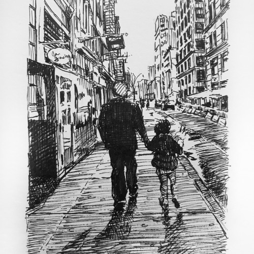 Father and Daughter taking a stroll through SoHo