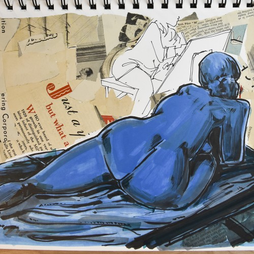 Figure drawing with color and collage