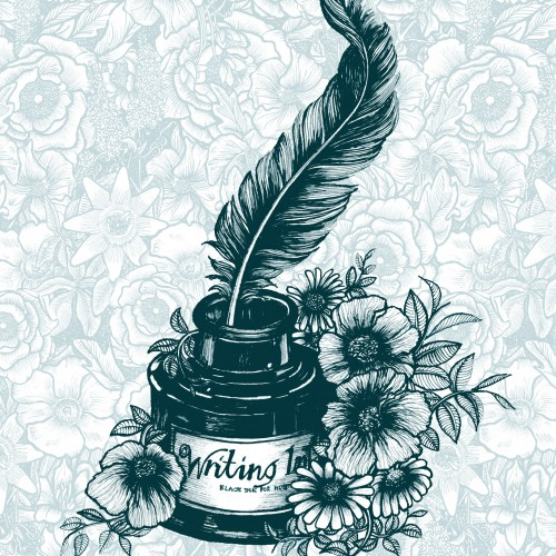 Vintage Blue Ink & Quill