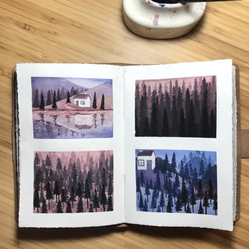 Cute little pine tree landscapes