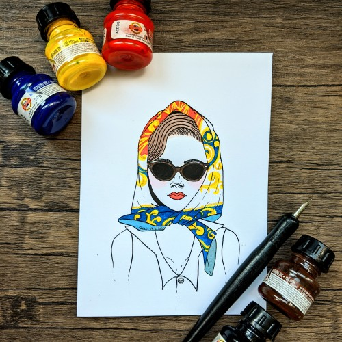 #facetober prompts: retro, head scarf, sunglasses