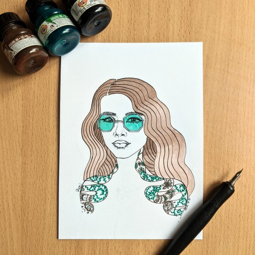 #facetober prompts: tattoo, wavy hair, sunglasses