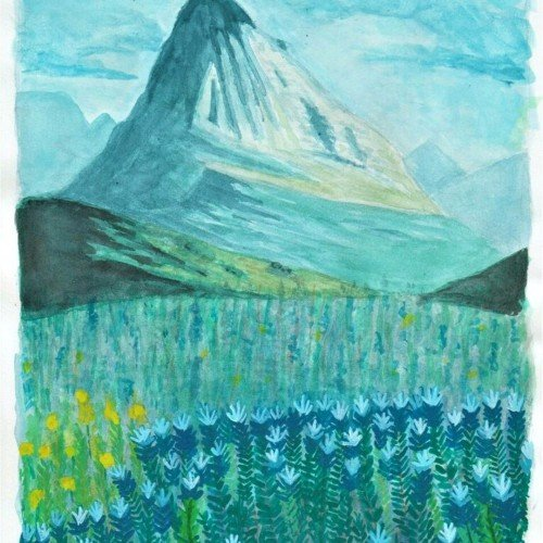 Mixed media mountain