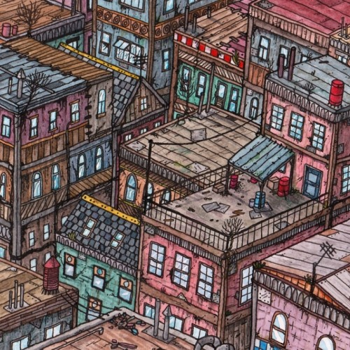 A Kowloon walled city inspired drawing