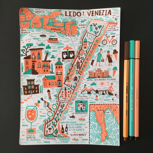 Doodle Map of the Lido in Venice