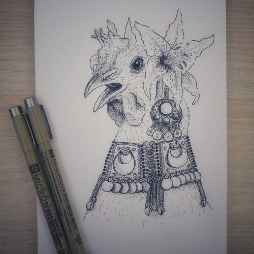 Inktober - day 5: chicken American Tribal Style