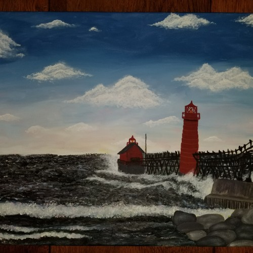 Grand Haven Light House Oil Painting