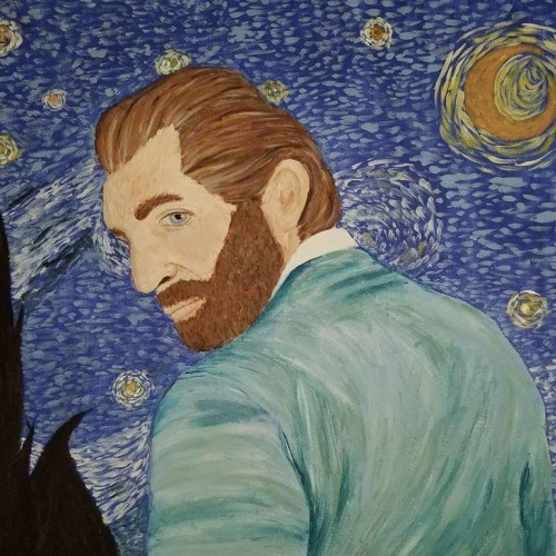 Vincent Van Gogh in Front of the Starry Night Sky