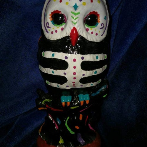 Sugar Skull Owl Ceramic