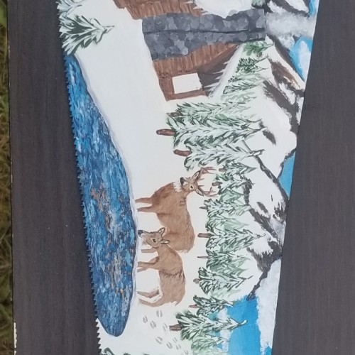Nature Scene Painted on a Saw